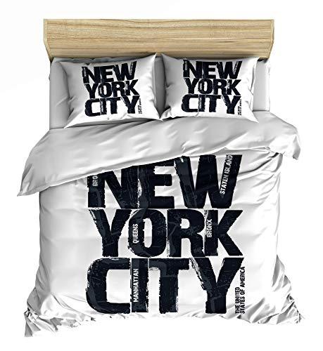 Maki Lemur New York Juegos de Funda nórdica Estampada 100% algodón Individual, Doble, King, Super King con Certificado Oeko Tex (Metropolis, (240x220) + 2(50x75))