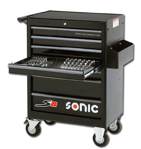 Sonic S8 Werkzeugwagen Werkzeug Wagen gefüllt 206-teilig, schwarz 7 Schubladen 3 Schubladen gefüllt