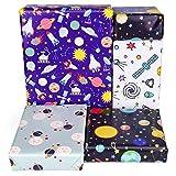 PLULON 6 fogli di carta da regalo di compleanno, ragazzi carta da regalo di design dello spazio esterno per bambini presenti festa di compleanno e baby shower (Multicolor)