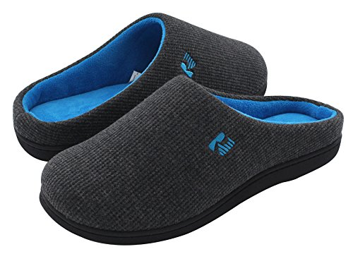 RockDove Men's Original Two-Tone Memory Foam Slipper, Size 11-12 US Men, Dark Gray/Blue