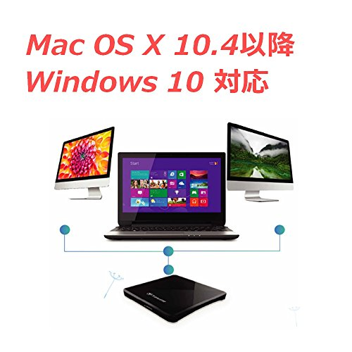 Transcendバスパワー対応ポータブルCD/DVDドライブ【Windows10対応】スリムタイプ/WindowsMac両対応ブラック2年保証TS8XDVDS-K