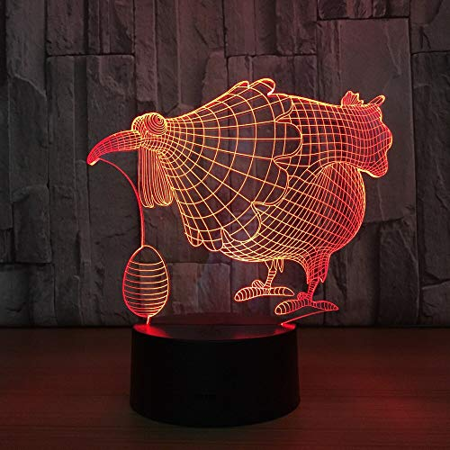 Color Changing Three-Dimensional Chicken with Egg 3D Table lamp Children's Gift LED LED Shape Decoration Night Light Children's Birthday Decoration Fun Gift   Visual Light Gift Atmosphere