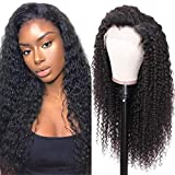 UNice Hair 13x6 Transparent Lace Front Human Hair Curly Wigs for Women, 180% Density, Unprocessed Brazilian Virgin Hair Free Part Wig, Pre Plucked with Baby Hair (22 inch)
