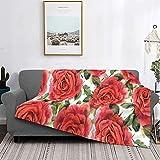 Mantas de microfibra ultra suaves, estampado de flores de efecto acuarela con motivos de jardín inglés con inspiraciones nostálgicas, suave y liviana para sofá cama, sala de estar, 40 'x 50'