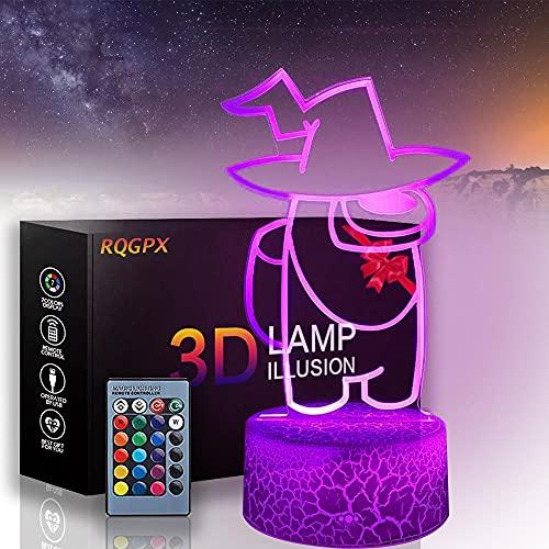 3D lámpara de ilusión óptica entre los Estados Unidos 16 colores LED noche luz con control táctil regalos de cumpleaños de Navidad para niños