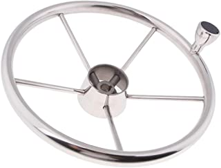 Perfk Stainless Steel Boat Steering Wheel 5 Spoke, with Turning Knob for Boats, Vessels, Yacht, Pontoon