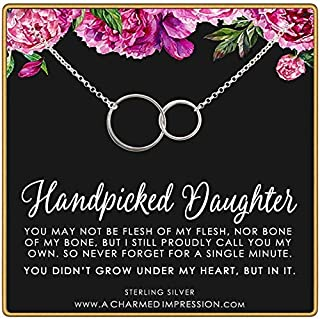For My Handpicked Daughter • Stepdaughter or Adopted Child Gift • 2 Connected Circles • 925 Sterling Silver • From Stepmother to Bonus Daughter • Adoption Keepsake Necklace • Unbiological Mother Child