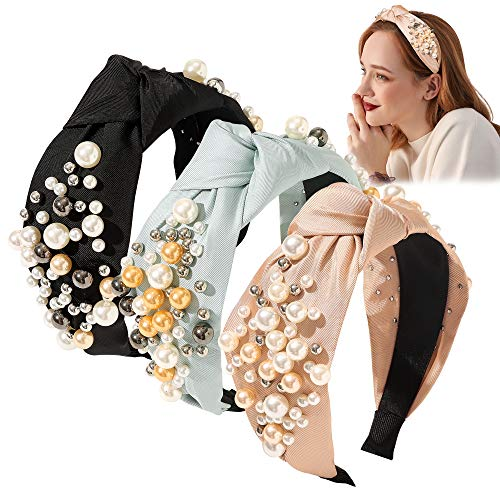 Headbands for Women Head Bands - Wide Knotted Pearl Fashion Cute Large Accessories Hairbands for Girls Oversize Para Mujer De Moda Big No Slip Head Band Stretchy Gifts for Women(Black Pink Blue)