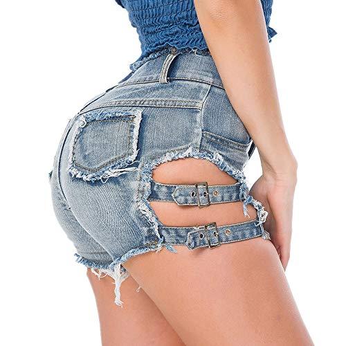 Pantalones de Playa de Verano Pantalones Vaqueros de Mujer Sexy Pantalones Cortos Pantalones Cortos Cintura Baja Agujero Sexy