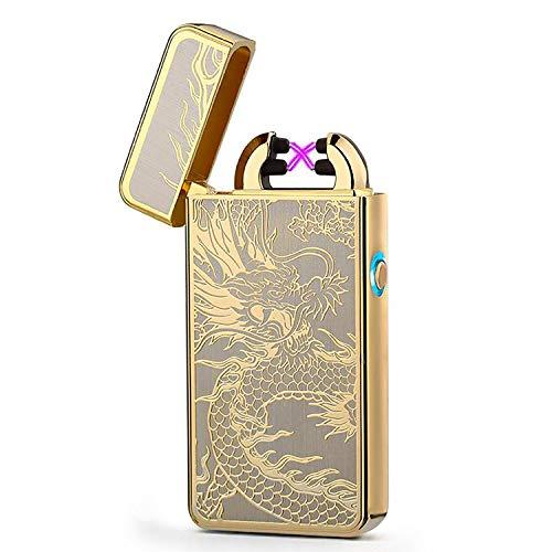 Elektrische aansteker, Touch Ignition aansteker, oplaadbare USB-aansteker met dubbele boog, winddichte plasma-aansteker, leuk cadeau voor mannen (meerkleurig)