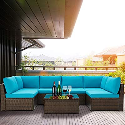 U-MAX Small Size 7 Pieces Patio Furniture Set, Brown Wicker Rattan Patio Conversation Sets, All-Weather Outdoor Combination Sofa with Glass Table and Cushion (Blue)