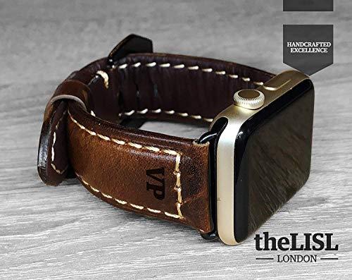 Apple Watch Strap Hand Stitch Vintage echtes Leder iwatch Band 38 40 42 44mm Gurt Herren Freund Mann Geschenk Serie 5 4 3 2 1 personalisierte graviert Weihnachtsgeschenk Luxus Premium Dark Brown