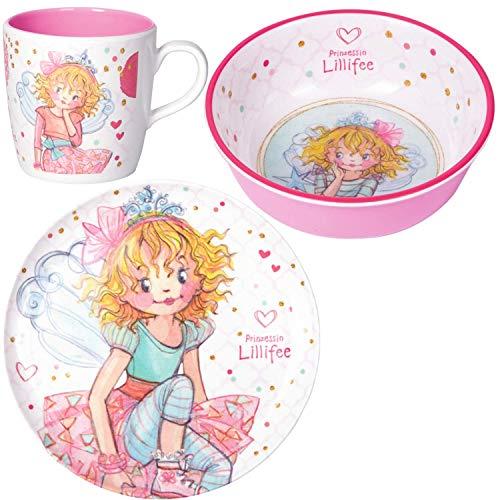 Spiegelburg Prinzessin Lillifee 3er Set 16198 16199 16200 Melamin-Teller + Melamin-Schale + Melamin-Tasse