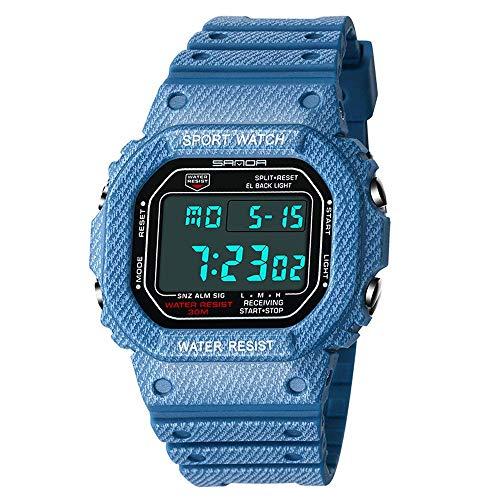 Reloj electrónico para deportes de ocio esfera cuadrada,reloj luminoso multifunción resistente al agua,reloj despertador, cronógrafo indicador 24 horas,reloj pulsera moda con pantalla digital simple