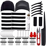 Wig Making Kit DIY Wig Tools Wig Accessories for Pro and Beginner, 5 Pieces Adjustable Elastic Band, 2 Pack Stretchable Wig Caps for Men and Women (Black)