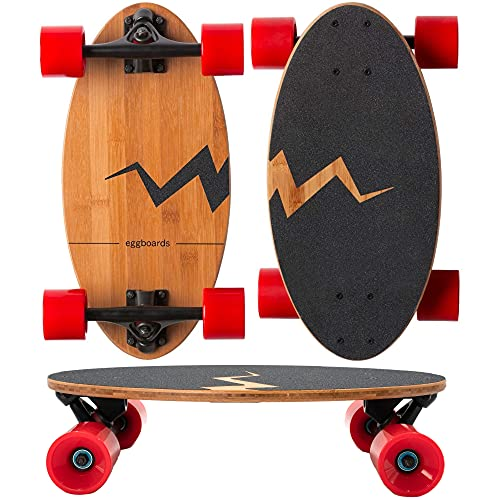 Eggboards Mini Longboard The Original - Bamboo Wood Cruiser Skateboard for Adults and Kids. Easy to Carry, Smooth to Ride