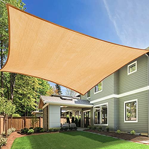 Tikola 3x4 m Toldo Rectangular de 98% Resistente UV Vela de Sombra, Toldo para Terraza, Patio Trasero, jardín,90% de tasa de protección Solar