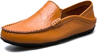 Kinloy Men's Slip on Flat Leather Loafers Stylish Casual Breathable Driving Shoes Comfy Non-Slip Handmade Moccasin Slipper...
