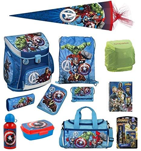 Familando Avengers Schulranzen-Set 17tlg Scooli Campus Fit mit Sporttasche Federmappe gefüllt Schultüte 85cm und Regenschutz