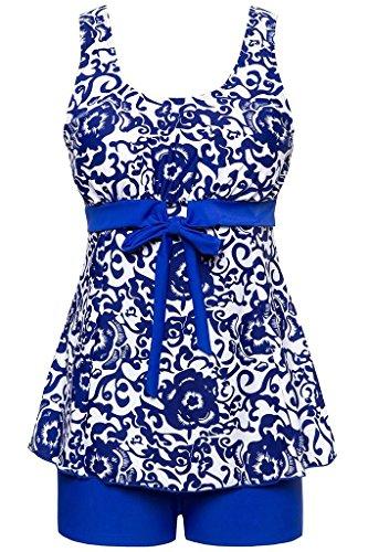 Ecupper Damen Tankini Set Zweiteiler Badeanzug mit Shorts Gepolstert Bademode Top+Shorts Große Größen Blau 5XL