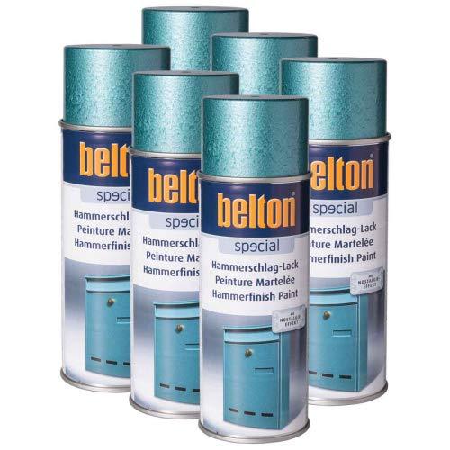 6 x Belton Hammerschlag-Lack blau 0,4l (Lackspray)