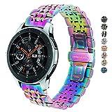 DEALELE Correa compatible con Galaxy Watch 46 mm, 22 mm, acero inoxidable, correa de repuesto de metal para Samsung Gear S3 Frontier/Classic/Huawei Watch GT2 46 mm mujeres hombres