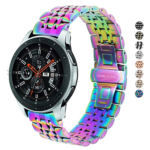 DEALELE Correa compatible con Galaxy Watch 46 mm, 22 mm, acero inoxidable, correa de repuesto de metal para Samsung Gear S3 Frontier/Classic/Huawei Watch GT2 46 mm mujeres hombres