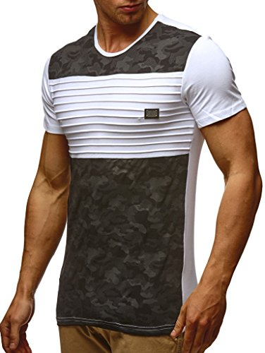 Leif Nelson Herren Sommer T-Shirt Rundhals-Ausschnitt Slim Fit Baumwolle-Anteil Moderner Männer T-Shirt Crew Neck Hoodie-Sweatshirt Kurzarm lang LN405 Weiss Medium
