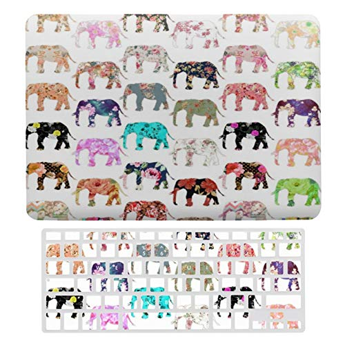 MacBook Air 13 Inch Case(A1369 & A1466, Older Version 2010-2017 Release), Plastic Hard Protective Laptop Case Shell with Keyboard Cover, Girly Whimsical Retro Floral Elephants Pattern