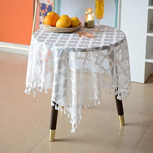 ARTABLE Mantel de tela jacquard blanco estilo rústico con flecos blancos para decoración de boda, banquete, jardín, mantel (blanco, 85 x 85 cm)