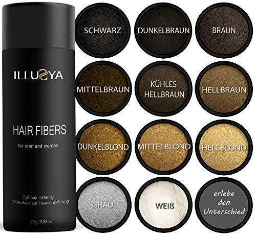 ILLUSYA Streuhaar - Schütthaar - Hair Fibers zur Haarverdichtung. Premiummarke. Volles Haar in Sekunden (DUNKELBRAUN)