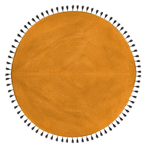 Atmosphera - Tapis décoratif Ocre en Coton D120