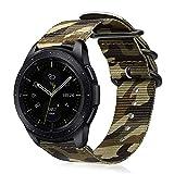 FINTIE Cinturino Compatible con Galaxy Watch 42mm/Galaxy Watch Active/Active 2/Gear Sport/Gear S2 Classic, 20mm Morbido Nylon Sport Regolabile Wrist Bands con Fibbia Metallica, Camouflage Verde