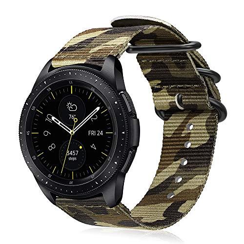 Fintie Armband kompatibel mit Galaxy Watch 3 41mm/Galaxy Watch 42mm/Galaxy Watch Active/Active 2/Gear Sport/Gear S2 Classic - Premium Nylon Uhrenarmband verstellbares Sport Ersatzband, Tarnen Grün