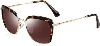 Vintage Fashion Square Sunglasses for Women PARZIN Polarized Eyewear UV400 Protective Shades with Glasses Case