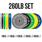 Color Bumper Plate Sets/Virgin Rubber w/Steel Insert/Low Odor + Dead Bounce/Crosffit, Olympic...