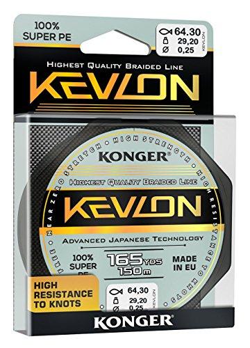 Konger Geflochtene Schnur KEVLON Black 4-Fach Braided Line Angelschnur 150m 0,06-0,20mm (0,07€/m) (0,16mm)