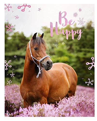 Theonoi Hochwertige Decke Flaneldecke Kinderdecke Bettdecke Wohndecke Weich kuschelig tolles Geschenk (Pferd Horse)