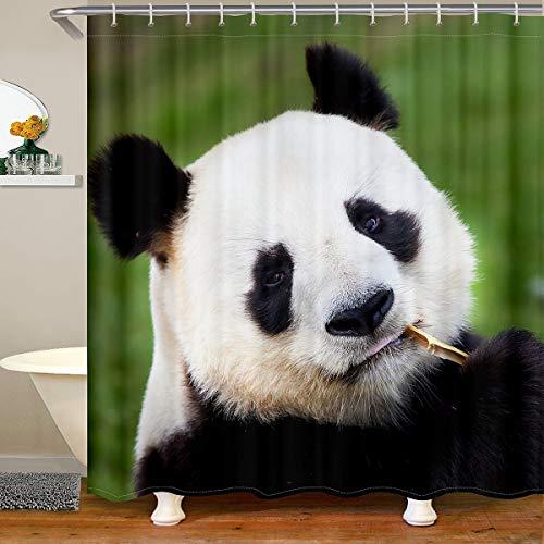 Cute Panda Fabric Bathroom Shower Curtain for Girls Boys Children Cartoon Giant Panda Waterproof Shower Curtains Lover Animal Shower Curtain with Hooks Wildlife Curtain,180x210cm