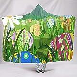 Fineiwillgo Manta con capucha, diseño de huevos de Pascua, supersuave y cálida, para niñas, 150 x 200 cm, color blanco