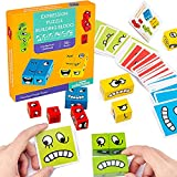 Face-Changing Building Block Puzzles, Interesting Expression Puzzles, Children's Logical Thinking Training Blocks, Suitable for Boys and Girls Over 3 Years Old to Participate in Easter Party Games