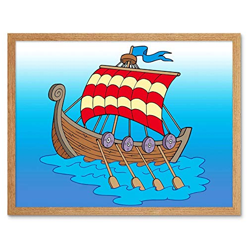 Wee Blue Coo Nursery Viking Longship Oars Sails Red Stripes Kids Bedroom Art Print Framed Poster Wall Decor 12X16 Inch