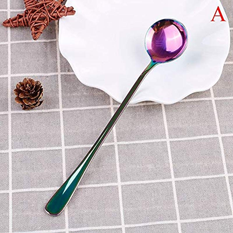 Coffee Scoops 19 4cm 18cm Long Handled Coffee Scoops Stainless Steel Rainbow Cold Drink Stirring Spoon Tea Scoop Rose Spoons Stainless Canisters Clips Tablespoon Long Scoops Handle Coffee