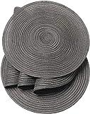SHACOS Baumwolle Platzsets Set von 6,Tischsets Rund Abwaschbar Verschleißfest Hitzebeständig,geflochtene Platzdeckchen,Ideal für Küche,Dekor,- Dunkelgrau - 6