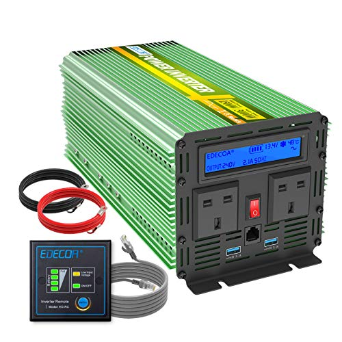 EDECOA 1500W Peak 3000W Pure Sine Wave Power Inverter DC 12V to 240V AC Car...