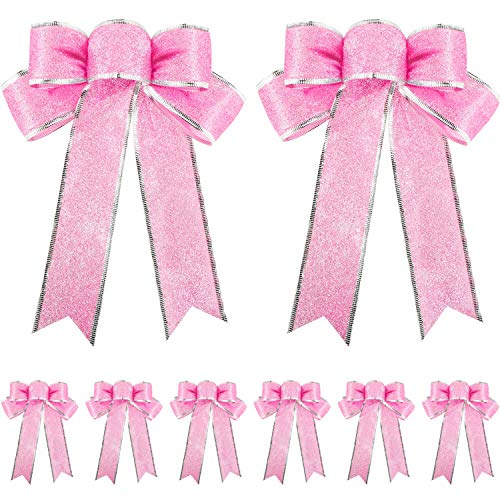 Tantuo 10 Pieces Glitter Christmas Tree Bow Ribbon Bows Christmas Tree Hanging Ornaments for Holiday Christmas Decorations, 10 by 8 Inches (Pink)