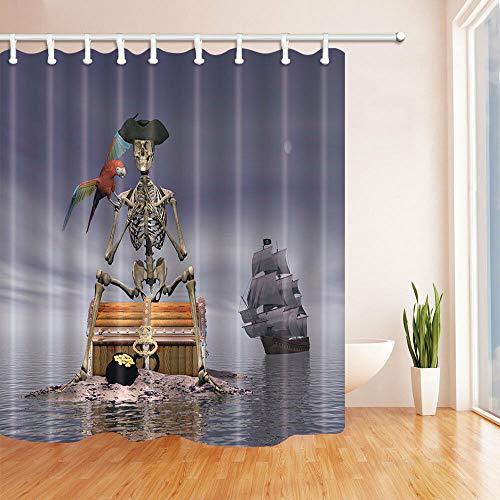 Pirates Skeleton Schat Badkamer Stof Douchegordijn Set 69 * 71 Inch 12 Haken