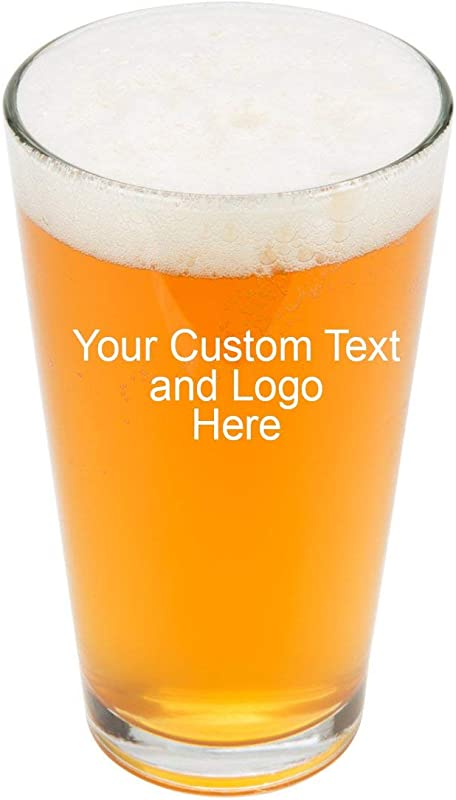ANY TEXT Custom Customized Engraved DOUBLE SIDED Pint Glasses For Beer 16 Oz Stein Personalized Laser Engraved Text Customizable Gift Double Side Engraving