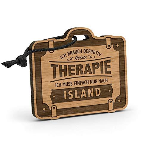 Fashionalarm Schlüsselanhänger Therapie - Island aus Holz mit Gravur   Geschenk-Idee Spruch Urlaub Reisen Reykjavík Wandern Klettern Reiten, Eiche