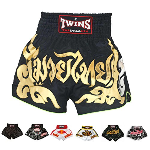 Twins Special Muay Thai Boxing Shorts (TBS-49 Black/Gold,M)
